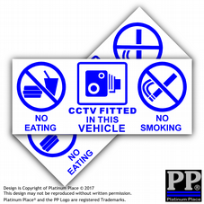 2 x Vehicle No Eating,Drinking,CCTV Fitted Stickers-Car,Truck,Sticker,Sign,Notice